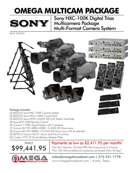 Sony HXC100 Digital Triax Multicamera Package 1