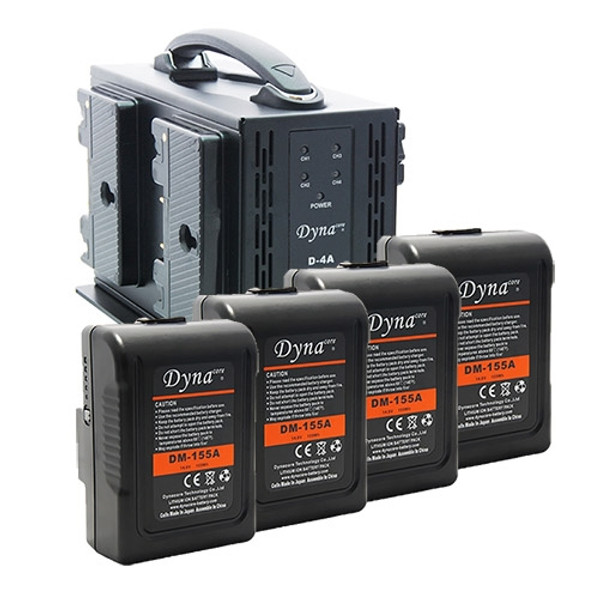 Dynacore D-4A Gold Mount Simultaneous Quad Charger with (4) DM-155A Gold Mount Batteries