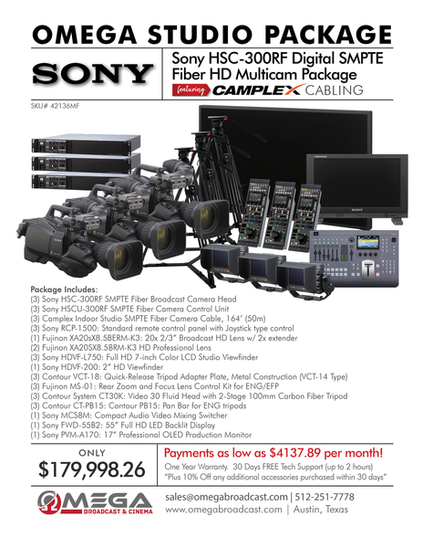 Sony HSC-300RF Digital SMPTE Fiber HD Multicam Package