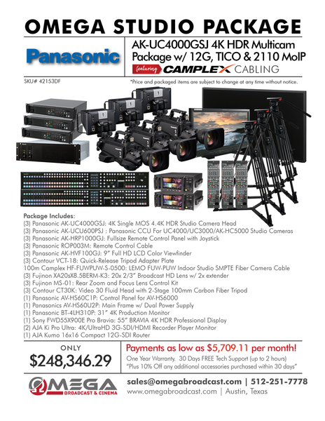 Panasonic AK-UC4000GSJ 4K HDR Multicam Package with 12G, TICO & 2110 MoIP Package