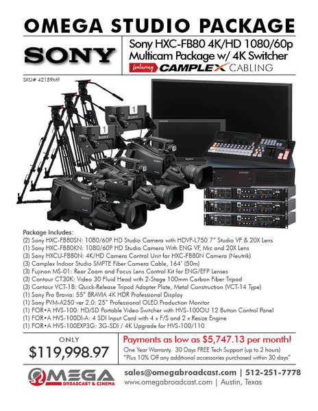 Sony HXC-FB80 4K/HD 1080/60p Multicam Package w/ 4K Switcher