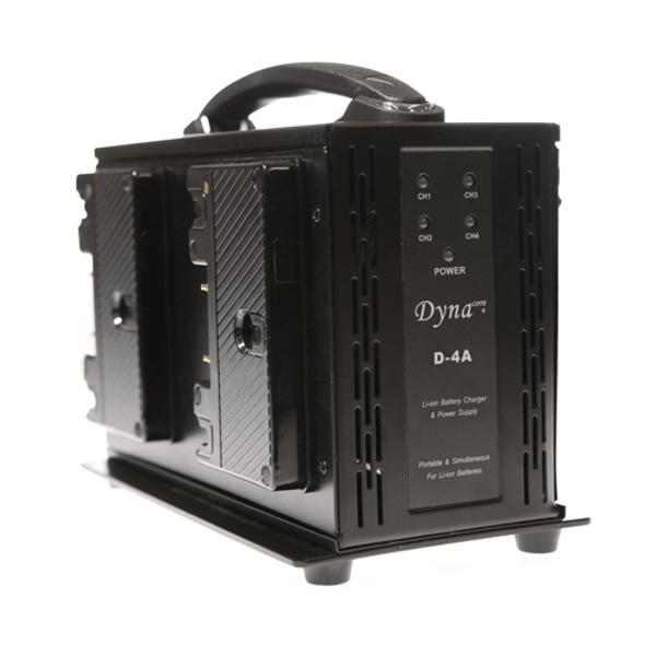 Dynacore D-4A: Portable Simultaneous 4-channel Quad Gold Mount Battery Charger