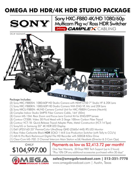 Sony HXC-FB80 1080/60p HD HDR/4K HDR Multicam Pkg w/ Ross HDR Switcher