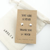 Thank You Silver Star Earrings