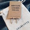 Faith, Hope, Love Silver Cross Hoop Earrings