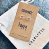 Choose Happy Silver Smile Earrings