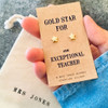 Gold Star Teacher Earrings Personalised