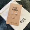 Keep Flying High Silver Airplane Earrings Wue