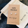 Safe Travels Silver Earrings Personalised