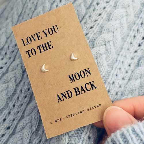 Moon And Back Silver Earrings