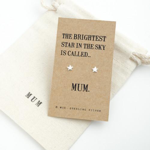 Brightest Star Silver Earrings For Mum
