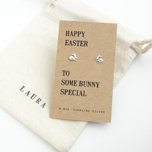 Easter Bunny Silver Earrings