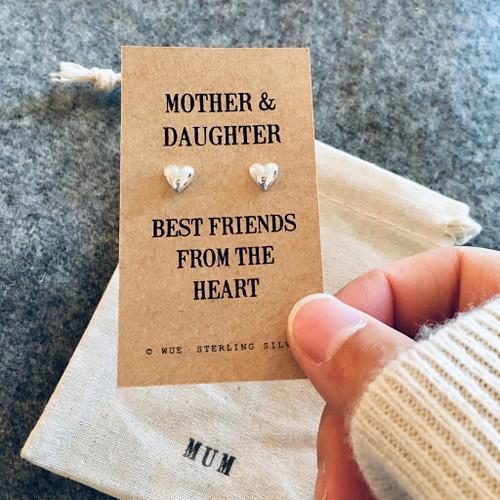 Silver Mother And Daughter Message Earrings