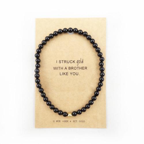 Mens Onyx Struck Gold Bracelet