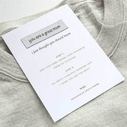 'Great Mum' Keepsake Sew In Label