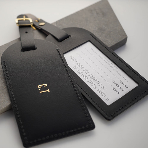 Personalised Black Leather Luggage Tag