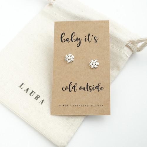 Cold Outside Snow Christmas Earrings