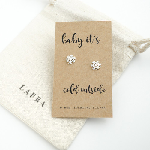 Cold Outside Snow Christmas Earrings