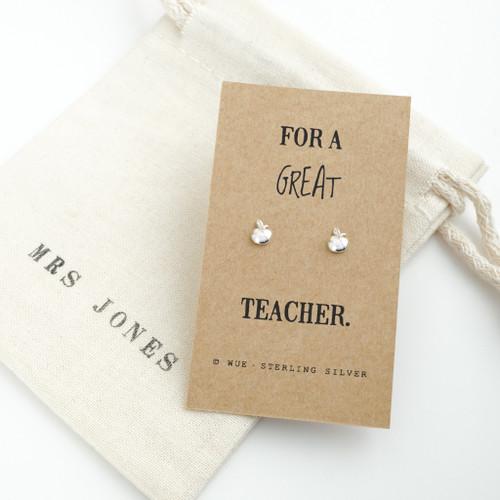 Great Teacher Apple Silver Earrings