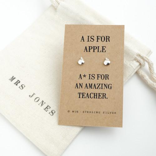 Amazing Teacher Apple Silver Earrings