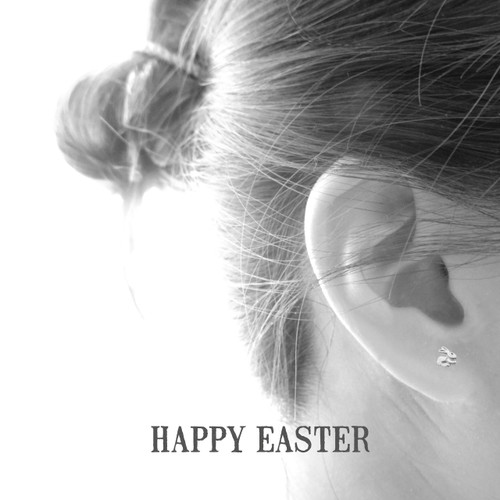 Hoppy Easter Bunny Silver Earrings
