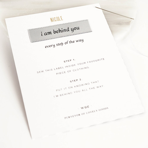 'I Am Behind You' Keepsake Sew In Label