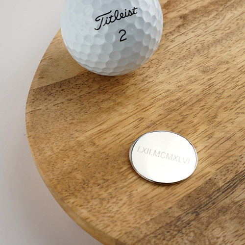 Roman Numerals Personalised Golf Ball Marker