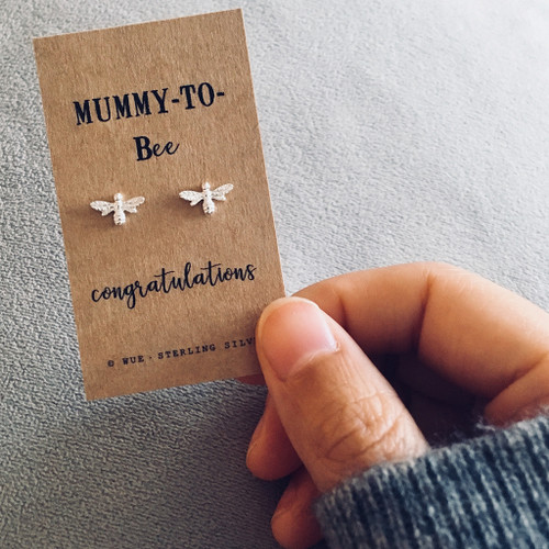 Mummy to Bee Silver Earrings