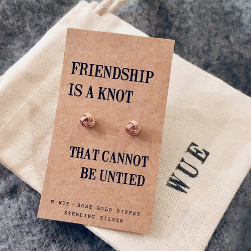 Rose Gold Friendship Knot Earrings With Wue Cotton Gift Bag