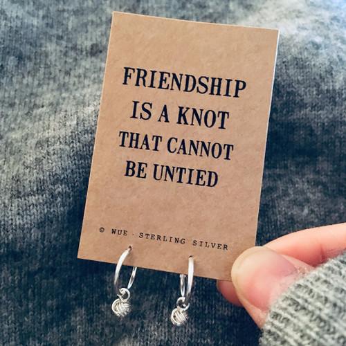 Friendship Knot Silver Hoop Earrings