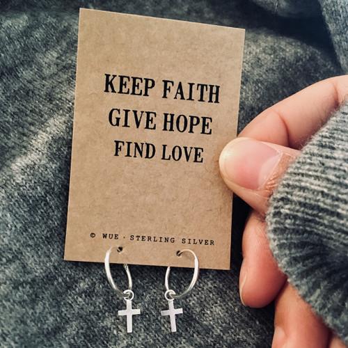 Faith, Hope, Love Silver Cross Hoop Earrings