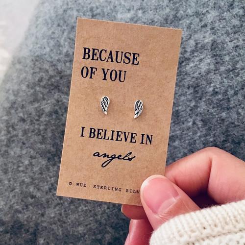 Believe In Angels Silver Earrings