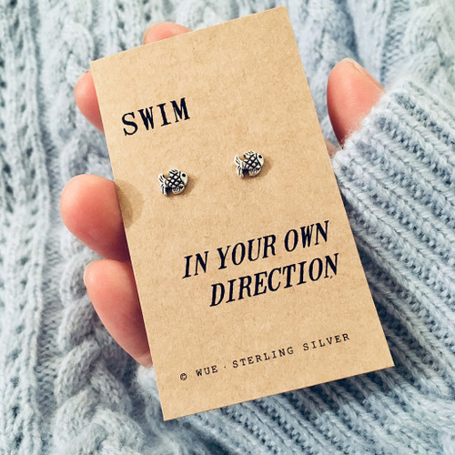 Your Own Direction Fish Silver Earrings