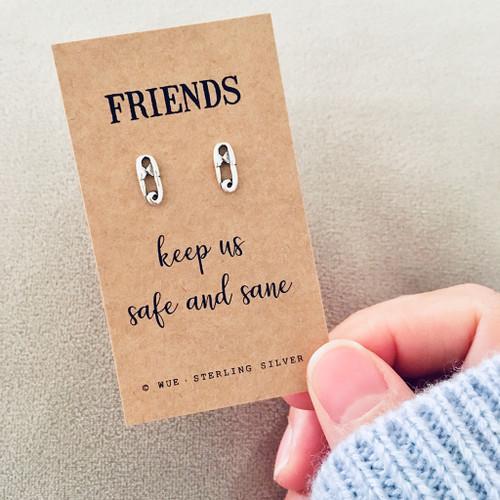 Friends Keep Us Safe Silver Earrings