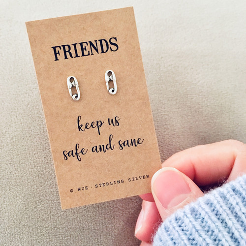 Friends Keep Us Safe Silver Earrings