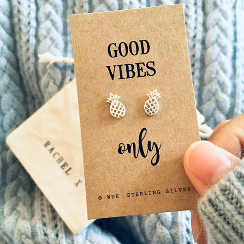 Good Vibes Only Silver Pineapple Earrings