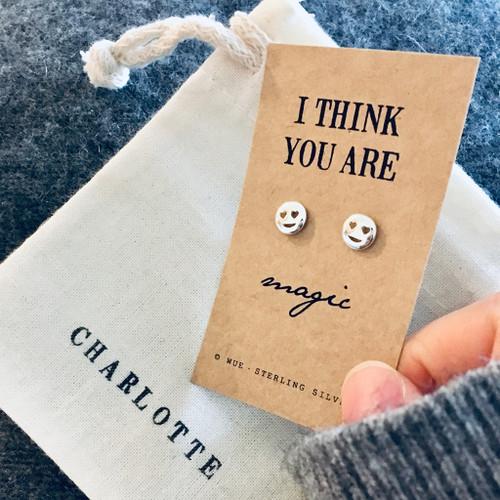 You Are Magic Silver Emoji Earrings
