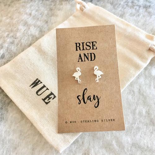 Rise And Slay Silver Flamingo Earrings