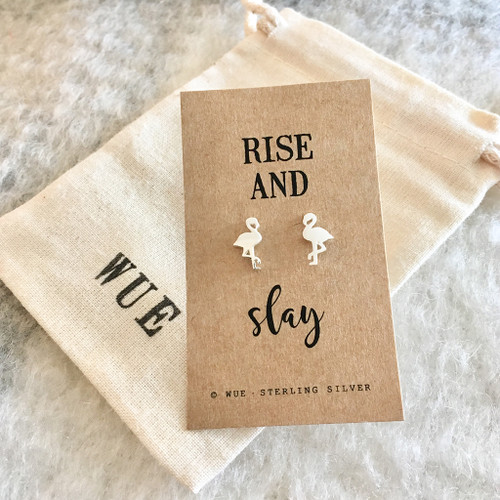 Rise And Slay Silver Flamingo Earrings