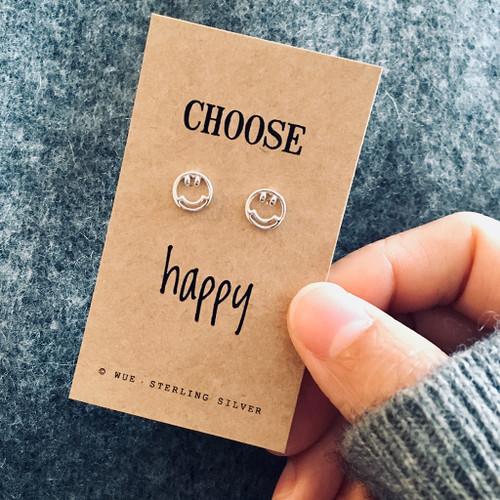Choose Happy Silver Smile Earrings
