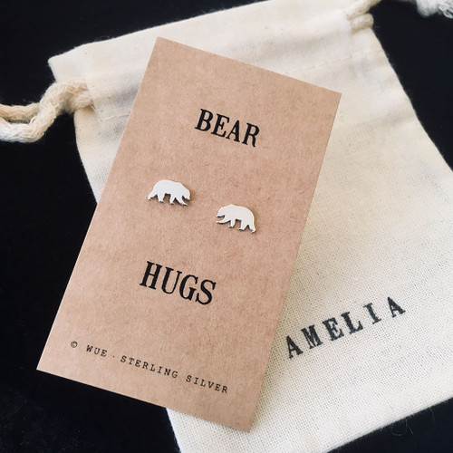 Bear Hugs Silver Earrings Personalised