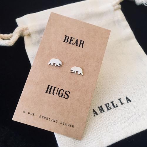 Bear Hugs Silver Earrings Personalised