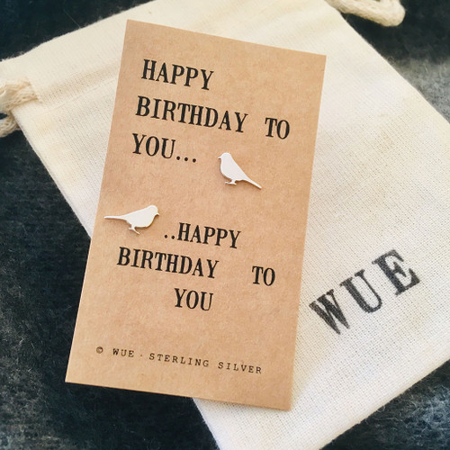 Happy Birthday Song Bird Silver Earrings Wue