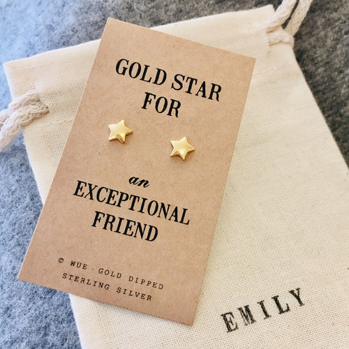 Gold Star Friend Earrings Personalised