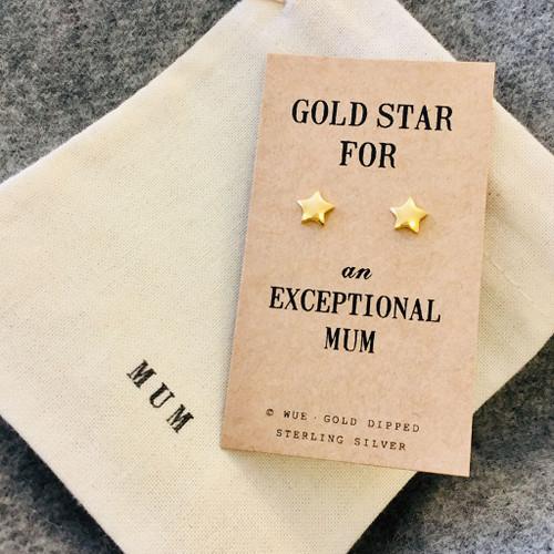 Gold Star Mum Earrings Personalised
