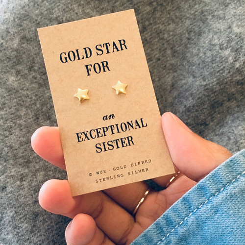 Gold Star Sister Earrings Lifestyle