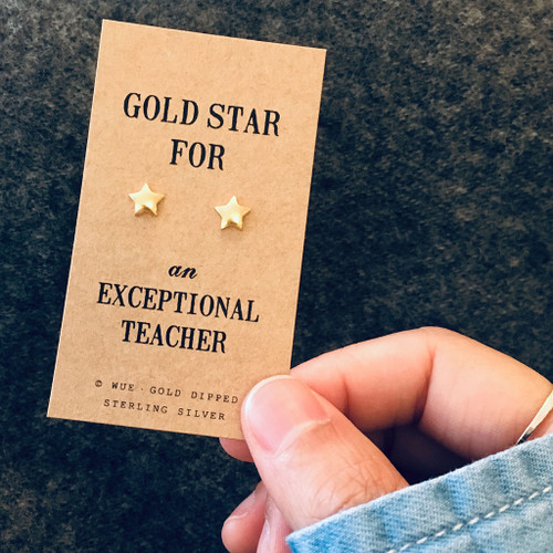 Gold Star Teacher Earrings Lifestyle