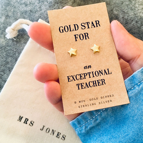 Gold Star Teacher Earrings Personalised