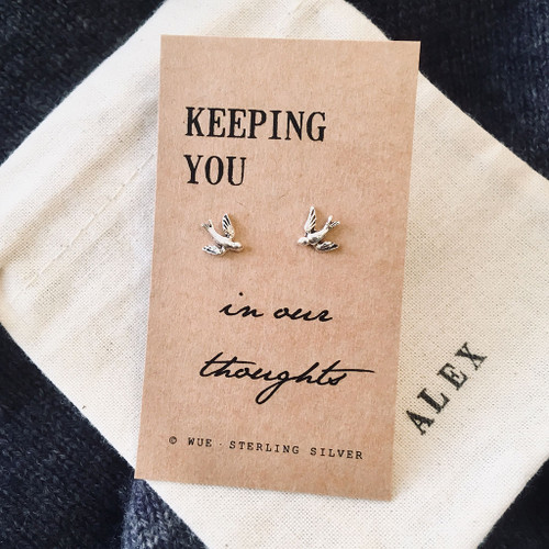In Our Thoughts Silver Swallow Earrings Personalised
