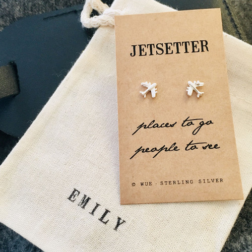 Jetsetter Silver Airplane Earrings Personalised